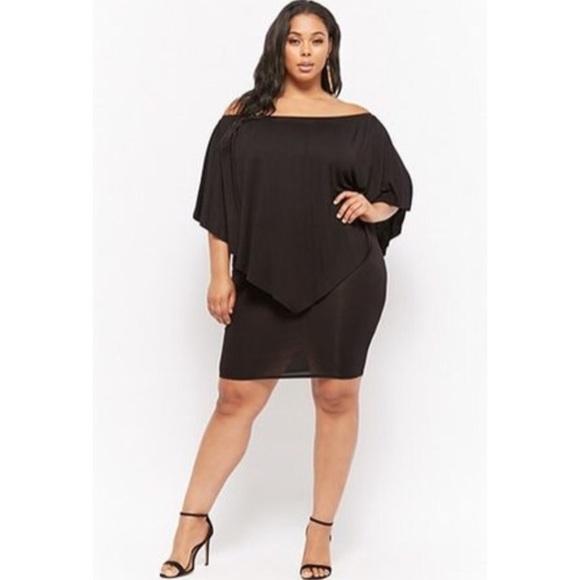Forever 21 Dresses Plus Size Layered Off The Shoulder Dress Black
